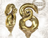 """Antiqued 2g (6mm) Borneo Tribal Ear Weights Brass Earrings Boho Hippy Style 1"""" 3/4 Inch Length Yoga Gauges Plugs Piercing Gauge expander"""