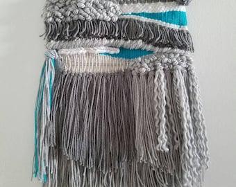 """Woven Wall Hanging, macrame wall hanging, Weaving, *ready to ship* """"grey"""""""