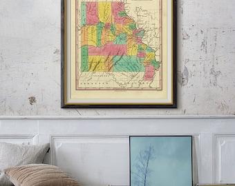 Missouri Vintage Map, US State Map, Missouri Map, Color Map of Missouri, Printable Map, Vintage Map- CP029