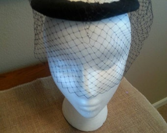 Vintage Black Hat with Black Veil