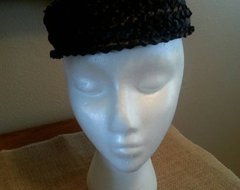 Vintage Black Straw Pillbox Hat