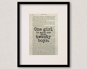 """Peter Pan quote print - Nursery decor - Baby shower gift - New baby gift - """"One girl is more use than twenty boys"""""""