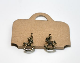 Tiny rocking horse earrings in antique gold