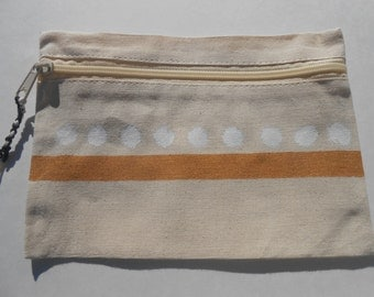 Canvas hand painted zippered makeup bag, gold white polka dot cosmetic case, pouch purse clutch