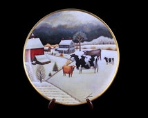 Decorative Plate, Cows in Winter, Franklin Mint, Lowell Herrero, American Folk Art Collection,  Limited Edition, Numbered Plate, Porcelain