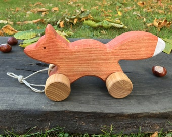 Big Wooden Toy Fox, Pull Along Toy,Baby toys,Christmas gifts,Birthday gifts,Christening gifts,Baby Shower gifts,Waldorf toy