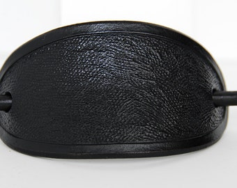 Black Oval Leather Barrette
