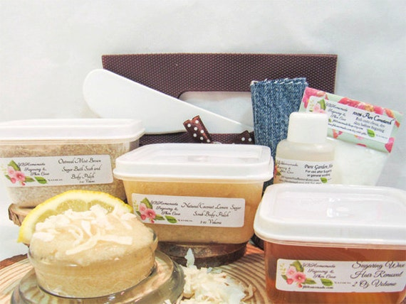 Natural Coconut Lemon Scrub Sugaring Wax Deluxe Starter Kit