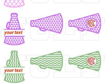 Cheer Megaphone SVG Cut Files, Cheer Megaphone SVG Monogram Frame, Cheer Megaphone dxf, Cheer Megaphone Clipart, Сheerleading svg, Cheer svg