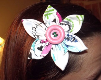 Flower Hair Clip with Pink Button