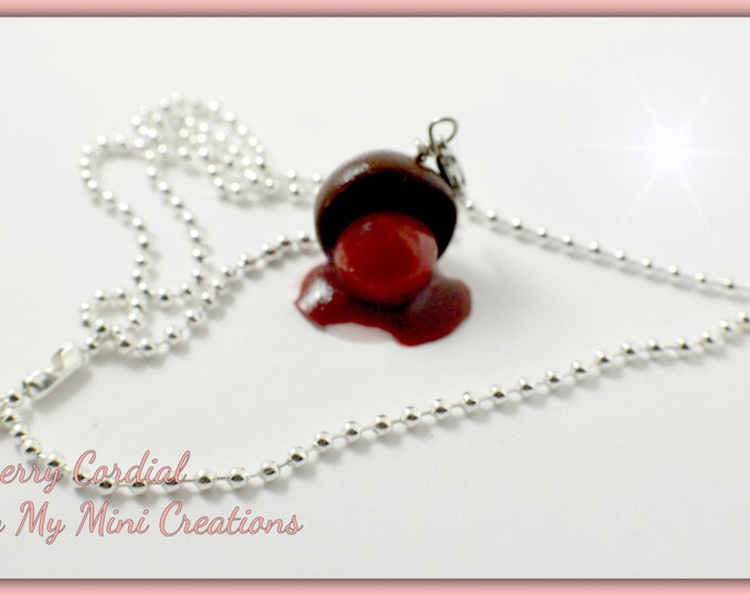 Cherry Cordail Necklace, Polymer clay, Miniature food, Miniature Food Jewelry