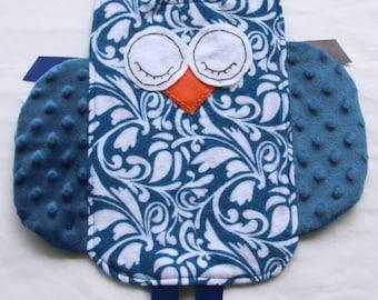 Owl Crinkle Toy, Baby Crinkle Tag Toy, Sensory Toy, Tag Security Blanket, Minky Blanket, Owl Crinkle Tag Toy, Blue Floral Print, Baby Lovie