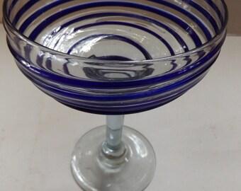 Cobalt Swirl Mexican Handblown Margarita Glass by Javier and Efren