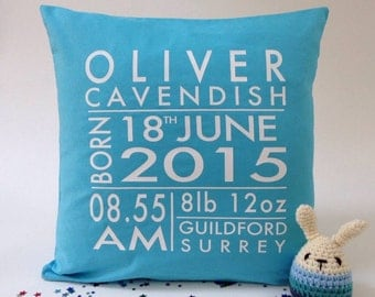 Personalised Birth Announcement New Baby Cushion