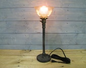 """Desk Lamp w/ Glass Shade and Repurposed Lifting Weight - 20"""" Tall - Iron Pipe - Salvaged Glass Shade"""