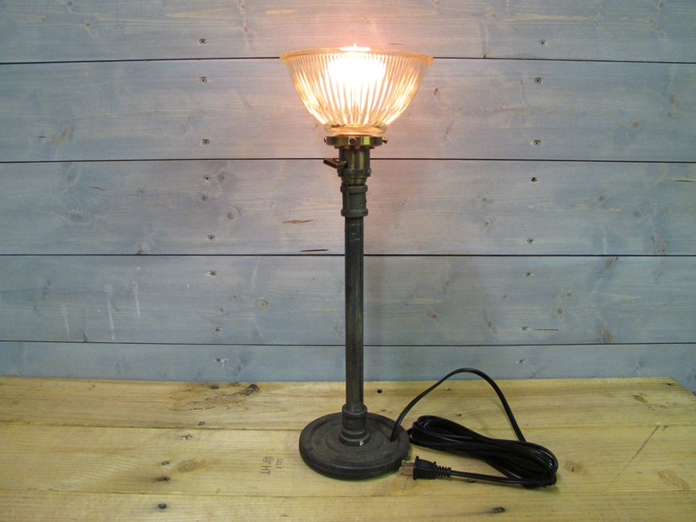 Desk lamp w glass shade and repurposed lifting weight 22 tall gallery photo mozeypictures Image collections