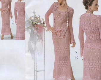 Ce sont deux pièces costume, chemisier et jupe longue Femmes / crochet / sur commande