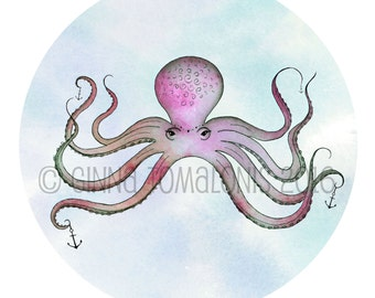 Pink Octopus - 8x8 Original Art Print