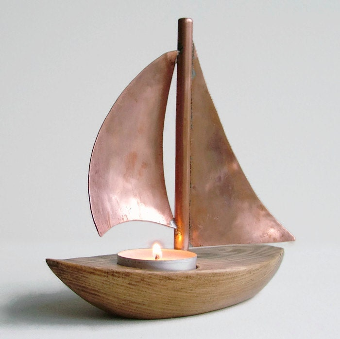Copper boat candle holder copper candle holder wooden candle - Sailboat tealight holders ...