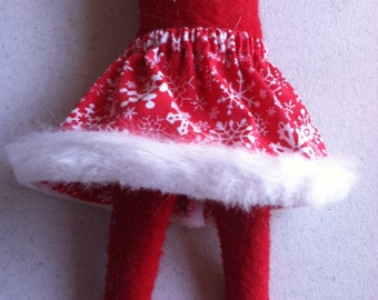 Christmas Shelf Clothes Red Skirt with Snowflakes and Fur Trim for Girl Elf or Pixie
