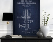 1925 Oil or Gas drilling Mechanism Patent Wall Art Poster, Texas Art, Home Decor, Gift Idea, PFEN08