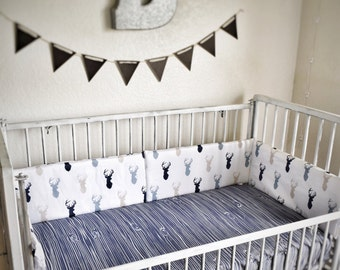 Crib Bedding Sets - Tan Navy Grey - Rustic Nursery and Toddler Bedding - Woodland & Antlers, Wood grain and Horns