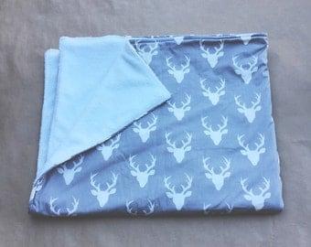 Gray Buckhead Print Minky Blanket 44x34