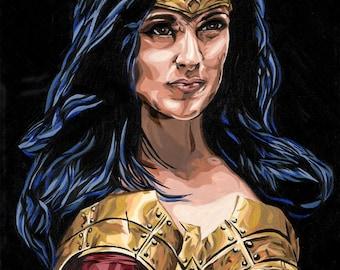 Wonder Woman Original Art Print 5 x 7