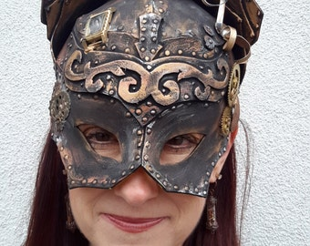Poly-styrene steampunk catwoman mask . safely fits a 21 inch head. FREE SHIPPING!