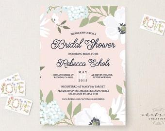 Garden Blush Bridal Shower Invitations