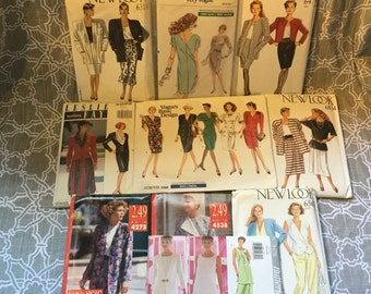 Lot of 10 Incredible 80s Sewing Patterns all UNCUT by Vogue, New Look and more!