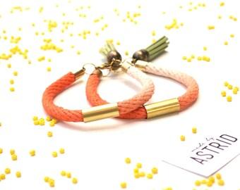 ORANGE Sorbet // Bohemian Bracelet, Rope Bracelet, Friendship Bracelet, Ombe Bracelet, Orange Bracelet, Tassel Bracelet,Bo