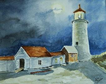 MOAHEGAN ISLAND LIGHT  Moon Light Painting, Original Painting, Maine Art, Watercolor Art, Maine Painting