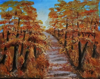 WOODLAND WALK  Fall Landscape, Maine Art, Original Landscape, Forest Painting, Falls Colors
