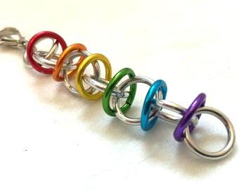 Silver Rainbow Pride Chainmaille Charm Fob - Aluminum - Orbital - Chainmail Keychain Zipper Charm
