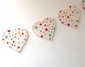 Cath Kidston Multi-Stars Wooden Heart Garland/Bunting