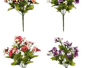 Artificial Flowers Pansies Gypsophillia 35cm 8 Head Bunch Pansy Memorial Home