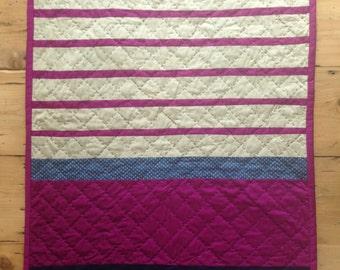 Magenta stripes mini quilt