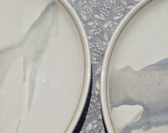 Heath Ceramics - 2 Unique & Rare Plates - Vintage Edith Heath - Coupe Shape, Splash Pattern