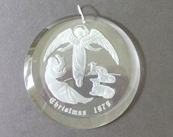 Vintage Christmas Ornament - Clear Acrylic, Engraved Angel and Shepherd 1979 Ornament