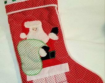 """Christmas Stocking """"Fuzzy Santa Claus"""""""
