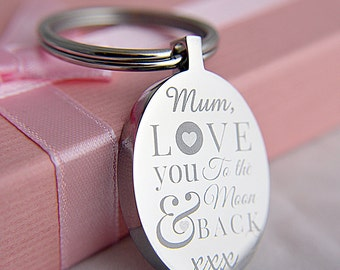 """Personalised """"Love You To The Moon & Back"""" Mother's Day Oval Keyring"""