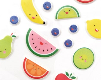 Kawaii Planner Summer Fruits Stickers Watermelon Lime Orange Banana Blueberry