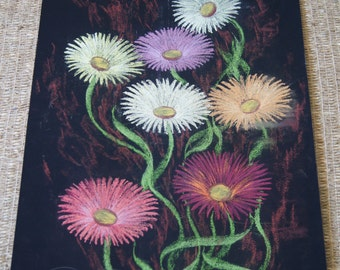 Vintage 1970's  - Flowers with pastels 10 x 21 White purple and black