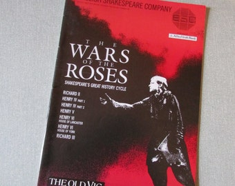 1989 The Old Vic's The Wars of The Roses souvenir programme, English Shakespeare Company