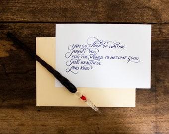Langston Hughes, Tired - 4x6 Hand-lettered Print