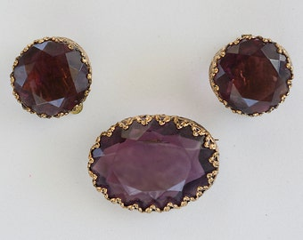 West Germany Purple Glass Earring and Brooch Set