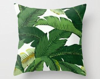 Palm Leaf Pillow Banana Leaves pattern Pillow Palm Leaves print beach pillow coastal decorative throw pillows tropical home decor palm print