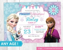 Frozen Birthday Invitation Printable, Frozen Inspired Invitation, Frozen Birthday Party Invites, Winter Invitation, Snowflake Invitation