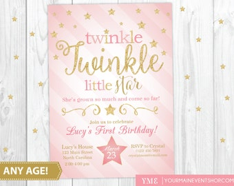 Twinkle Twinkle Little Star Birthday Invitation, Twinkle Twinkle Invitation, Pink and Gold Star Invitation, First Birthday, 1st Birthday